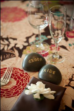 Place Cards - Wedding Favors - Rocks - Stones - Handstamped - Eco Friendly Weddings