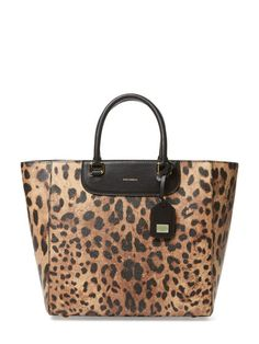 7a715242503d Leopard Printed Leather Medium Shopping Tote by Dolce Discount Designer Bags