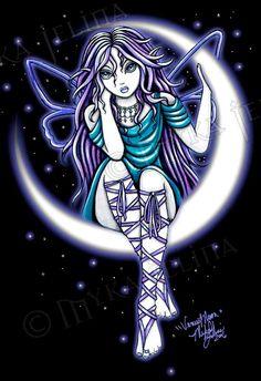 MYKA JELINA ART (fairy sitting on a crescent moon)