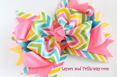 Over the top Easter hair bow Chevron hair bow by LayersandFrills, $9.99
