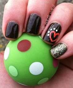 Fun fall nails! Brown, coral, glitter! Let's get thankful for nail art!