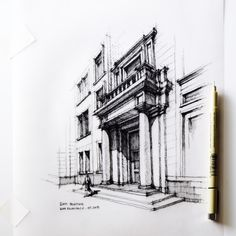 Love Drawing and Design? Finding A Career In Architecture - Drawing On Demand Croquis Architecture, Architecture Sketchbook, Classical Architecture, Architecture Design, Line Drawing, Drawing Sketches, Painting & Drawing, Plan Ville, Building Drawing