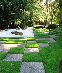 Japanese gravel garden with a distinct pattern (article has several photos for Japanese garden design ideas)