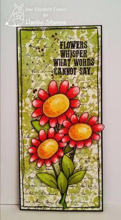 flowers digi image by Hambo Stamps, card by Jane Elizabeth France