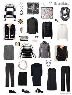 travel capsule wardrobe in black and white for Paris autumn 2017