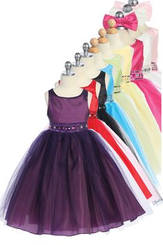 Very cute special occasion dress can be used for parties, holidays, dances, weddings or any other formal occasion!  Sleeveless dress Satin bodice, tulle overlay on skirt Jeweled