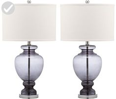 Safavieh Lighting Collection Grey Glass 28-inch Table Lamp (Set of 2) - Improve your home (*Amazon Partner-Link)