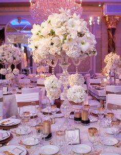 Pink Black And White Wedding Centerpieces | Reception Décor: White Centerpieces | InsideWeddings.com