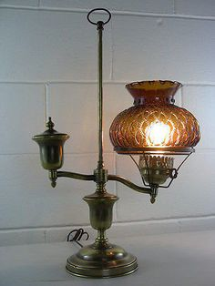 Vintage Brass Electric Student Lamp Diamond-Quilted Amber Glass – EclectiquesBoutique.com