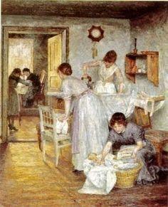 1891 Ivana Kobilca (Slovene painter 1861-1926) Ironing Women. Contrast between work and leisure. (Find better rendering)