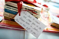 Nice idea for couples who love to read and want to share their passion on their wedding day.   How cool is that?