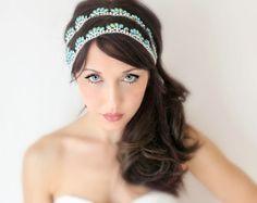 Bridal Headband Blue Green Peacock Rhinestone Silver by DeLoop, Gatsby, art deco, theresa Joy, Wedding, bride, hair, accessory