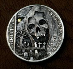 "Hobo Nickel ""The Midnight Hour Is Close At Hand"" Skull Coin Howard Thomas"