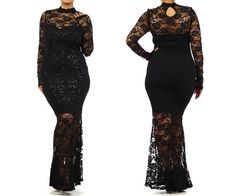 c840656f00d Plus Size Sexy Women Black Sparkling LACE MAXI DRESS long sleeve high neck  minimalist mermaid skirt full length cocktail party
