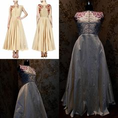 Featuring a beige flared anarkali in raw silk base with gold and ivory floral textured embroidered bodice appliqued with red flower and leaves pattern thread and zari embroidery highlighted with gold beads and thread work on the front and back. It has loop button closure detailing on the front placket. It comes along with gold net dupatta.  Title : Gold zari beads and thread floral embroidered flared anarkali set Size : Free size Colour : Beige Fabric : Raw Silk Type : Embroidered Occasion…