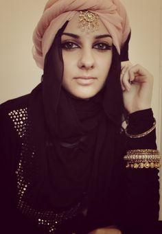 Arab inspired hijab style/ you can rock any turban u love just add the simple shawl to cover the neck