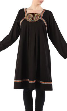 East Essence Tunic Dress  -  at PlusSizeDesi.com #psdesi #plussize #plussizedesi #desiclothing #psd Kaftan Style, Modest Wear, Islamic Clothing, Embroidered Tunic, Cotton Tunics, Shirt Style, Tunic Tops, Aztec Empire, Clothes