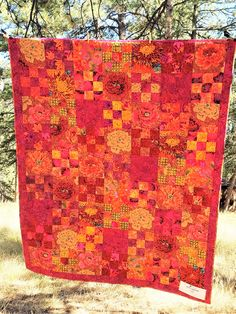 RUBY GARDEN quilt, comforter, throw, lap quilt--Inspired by Kaffe Fassett designs in Ruby, Gold and Crimson Pink Quilts, Colorful Quilts, Scrappy Quilts, Lap Quilts, Patchwork Quilting, Scrap Quilt Patterns, Quilting Ideas, Orange Quilt, Green Quilt