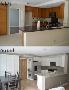 How to Repaint Kitchen Cabinets on my Modern Rustic Kitchen Makeover. Kitchen Cabinets Height, Repainting Kitchen Cabinets, Refacing Kitchen Cabinets, Cabinet Refacing, Kitchen Cabinet Remodel, White Kitchen Cabinets, Kitchen Counters, Countertops, Rustic Kitchen