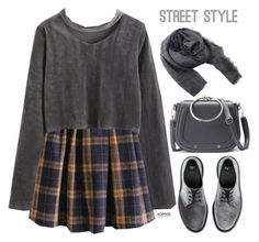 """Romwe #7 VII"" by oliverab ❤ liked on Polyvore featuring Dr. Martens, romwe, grey and velvet"