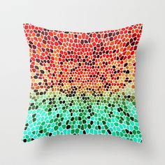 THINK MINTY ORANGE Throw Pillow by catspaws - $20.00