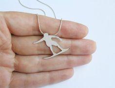 Surfer Pendant Necklace- Silver Necklace - Wave Surfer - Sport jewelry - Hand Cut Silhouette. $69.00, via Etsy.