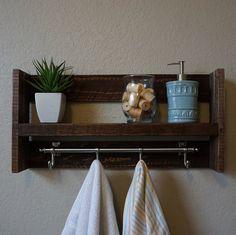 Modern Rustic Bathroom Shelf with Towel Rail Hooks by KeoDecor
