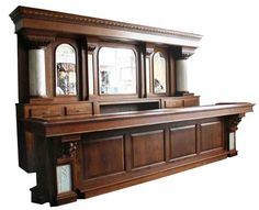"""Oak Back And Front Bar With Marble Columns - """"Wheel Cut"""" Mirrors saying, """"Scotch"""", """"Whiskey"""", """"Private Bar""""    Sold"""