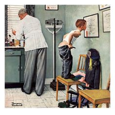 """Before the Shot"" or ""At the Doctor's"", March 15,1958 - Norman Rockwell Poster"