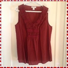 """""""I'd Just As Soon Wear Maroon"""" top Pretty silk/cotton fabric combine for a lovely top by Coldwater Creek! Intricate stitching detail on the front. Under arm to hem is 17 inches, bust is 40 inches. Coldwater Creek Tops"""