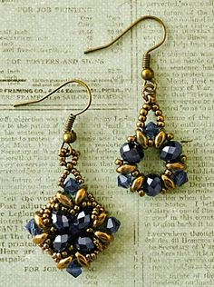 Linda's Crafty Inspirations: Noah & Tanya Earrings (links to free tutes + Linda shares her materials list & variations) Seed Bead Jewelry, Seed Bead Earrings, Diy Earrings, Beaded Necklace, Beaded Bracelets, Seed Beads, Jewelry Logo, Jewelry Design, Jewelry Ideas