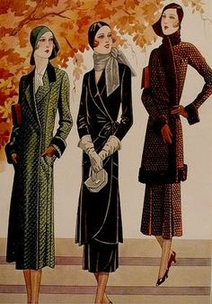 1930s Fall Fashions color illustration print ad women style vintage looks coat skirt suit hat gloves purse shoes fall winter black green grey brown