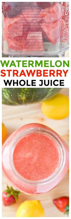 Try our watermelon strawberry juice recipe! This is a refreshing and delicious drink recipe. No need to buy, make homemade juice for kids in your blender. via @KnowYourProduce