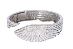 Garrard Wings White Gold Pave White Diamond Bangle