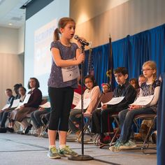 """Today's winner of the 2017 Scripps SW Idaho Spelling Bee held at #boisestate Delaney W. 9 years old and a 4th grader at Highlands Elementary in Boise. She beat out (24) other contestants and spelled """"trattoria"""" for the win. Photo by @boisestatephoto credit: Patrick Sweeney."""
