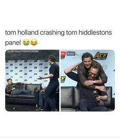 The Marvel Tom's Hiddleston and Holland Funny Marvel Memes, Marvel Jokes, Dc Memes, Avengers Memes, Marvel Dc Comics, Marvel Avengers, Shane Mendes, Tom Holland Peter Parker, Marvel Actors