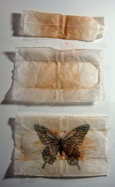 This is my method for drawing on a tea bag. After steeping your tea, set tea bag on the counter to dry and enjoy that fabulous warm cuppa. Tea Bag Art, Tea Art, Coffee Filter Art, Used Tea Bags, Diy And Crafts, Paper Crafts, Paper Quilt, Art Textile, Tea Stains