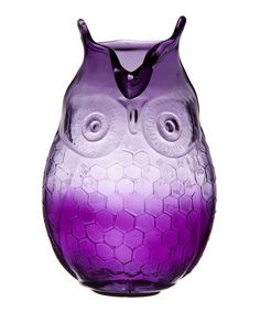 Plum Owl Hurricane Vase
