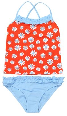 Daisies Design On Red Tankini. tankini in red with daisies to match rashguard, bikini, dress and swimsuit all made in high quality fibres to last all summer Baby Girl Swimsuit, Bikini Girls, Red Tankini, Kids Bathing Suits, Luxury Swimwear, Tween Girls, Baby Girls, Cute Swimsuits, Stylish Girl