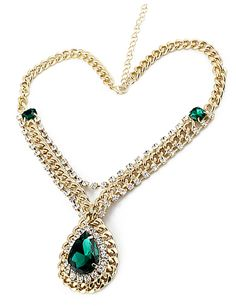 Green Drop Gemstone Gold Crystal Chain Necklace - Sheinside.com