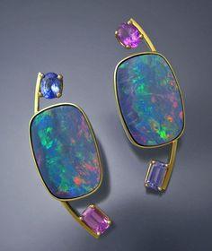18k Gold Black Opal and Pink & Purple Sapphire Earrings