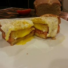 Grilled salami, tomato, and buffalo mozzarella cheese topped with fried egg