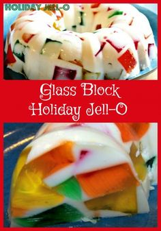 A fun holiday recipe for Glass Block Jell-O. Try this Glass Block Holiday Jell-O. Jello Pudding Desserts, Jello Deserts, Köstliche Desserts, Delicious Desserts, Dessert Recipes, Yummy Food, Mexican Jello Recipe, Mexican Food Recipes, Gelatin Recipes