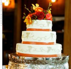 "Follow EyeDo STL for more pins! ""Like"" Us on Facebook (www.facebook.com/eyedostl) for some awesome wedding posts!!  What a beautiful fall/autumn colored wedding cake!"