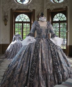 Georgian Rococo Colonial *Marie Antoinette*WEDGEWOOD BLUE DAY GOWN'.