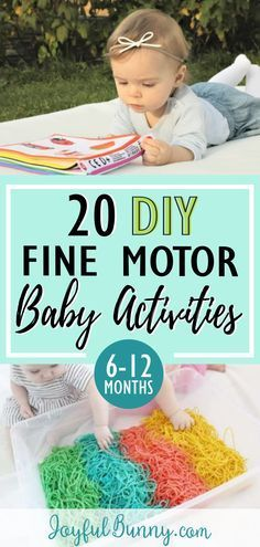 20 baby activities to help develop fine motor skills! Perfect for babies 6-12 months. Create entertaining and educational play with items already in your home!