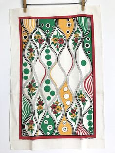 Vintage Tea Towel, Art Nouveau Deco Pattern, Abstract, Dots, Flowers by NeatoKeen on Etsy