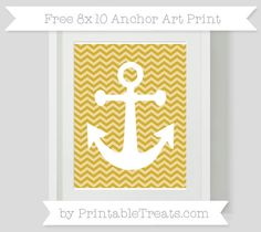 Metallic Gold Chevron  8x10 Anchor Art Print