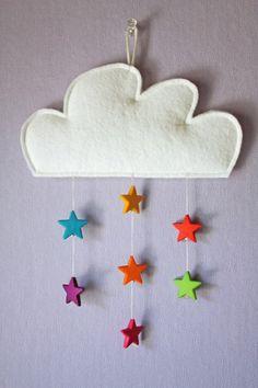 Mobile nuage/étoile Chambre Bébé décoration Nursery garçon fille baby bedroom boys girls enfant diy home made fait maison