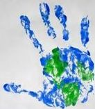 Earth hand print! Great idea for Earth Day!